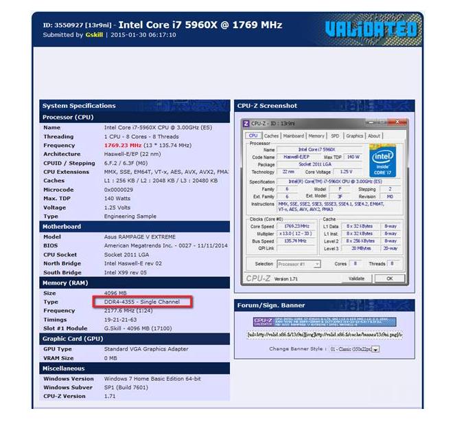 Nouveau record pour la DDR4 avec 4.35GHz