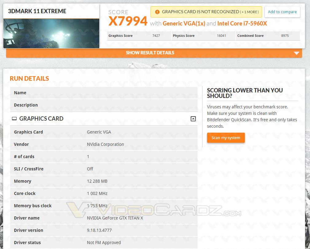 Premiers Benchs pour la TITAN-X
