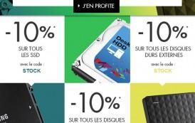 [BON PLAN] 10% de réduction sur les disques durs et SSD