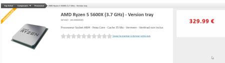2020-11-05 20_51_39-AMD Ryzen 5 5600X (3.7 GHz) - Version tray _ Achat pas cher & Avis