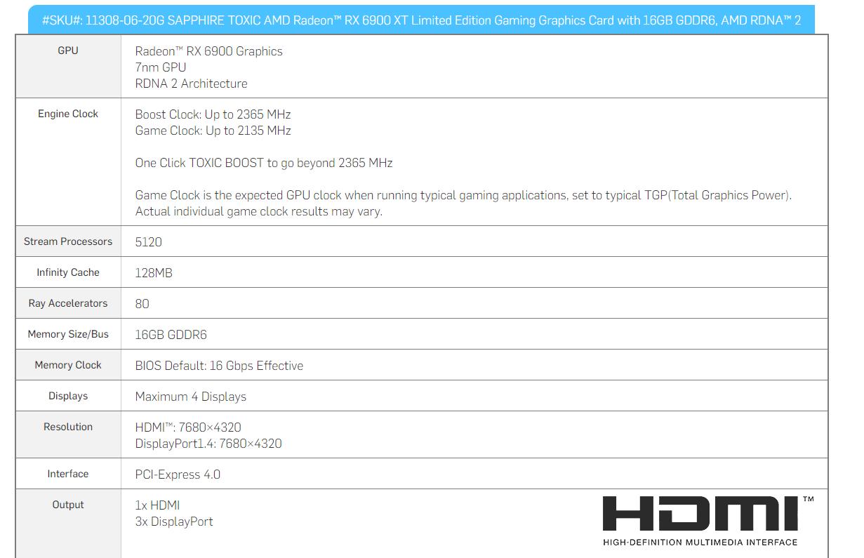 TOXIC AMD Radeon RX 6900 XT LE specification